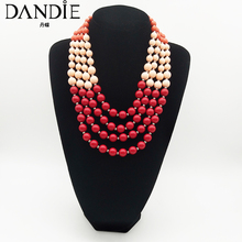 Dandie Stylish, sweet, multi-layered colorful acrylic bead necklace, stylish feminine necklace