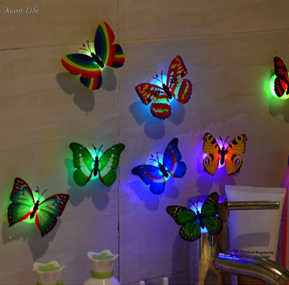 ISHOWTIENDA 2017 New 10Pcs Wall Stickers Butterfly LED Lights Wall Stickers 3D House Decoration 3D LED Wall stickers