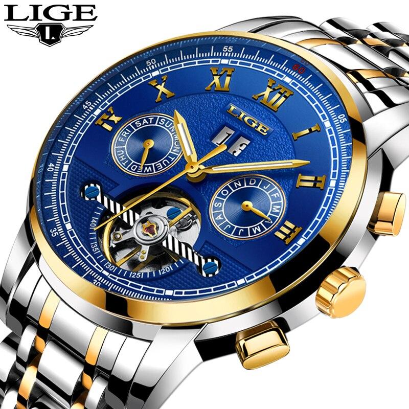 Montre Hommes Tourbillon Automatique montres mécaniques Lune phases Hommes Top Marque De Luxe Plongée 30 M D'affaires en acier plein Clcok Relojes