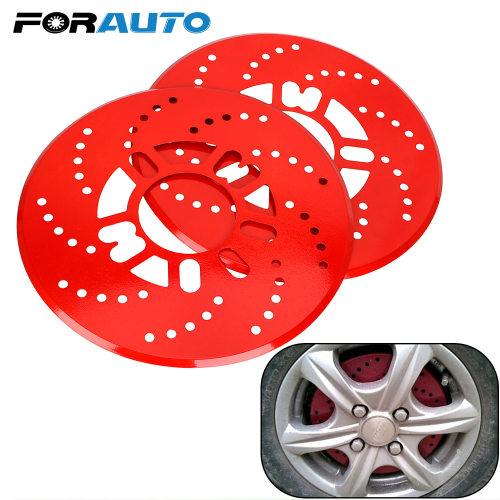 FORAUTO 1 Pair Aluminum Alloy Automotive <font><b>Wheel</b></font> Disc Brake Cover <font><b>Car</b></font> Disc Vehicle Decorative Brake Rotor Cross Drilled Cover image
