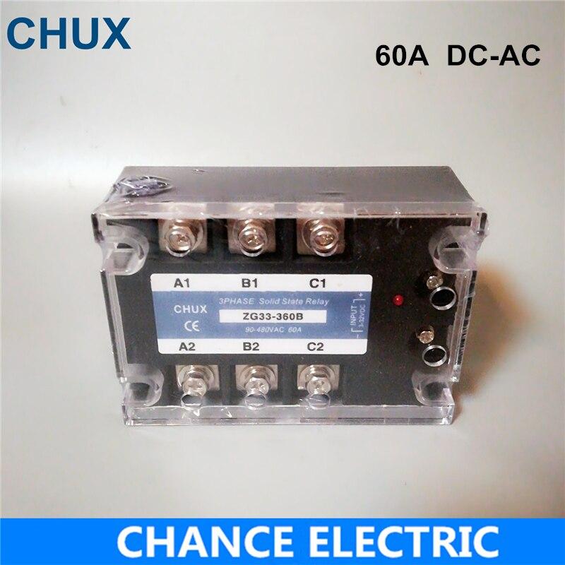 Relè A Stato solido 60A DC-AC Tre Fasi 3-32VDC per 90-480VAC Relè A Stato Solido SSR DC di controllo AC (ZG33-60DA)