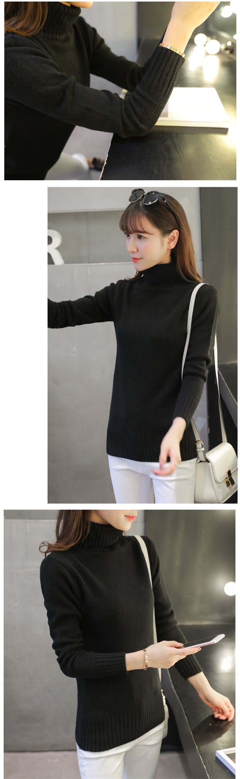 18 New Autumn winter Women Knitted Sweaters Pullovers Turtleneck Long Sleeve Solid Color Slim Elastic Short Sweater Women K861 11