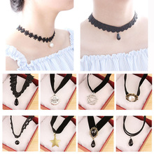 New ace hollow Designs Velvet Chokers Necklace Black Leather Rope Chain layer Chocker Vintage Jewelry for women Collier femme
