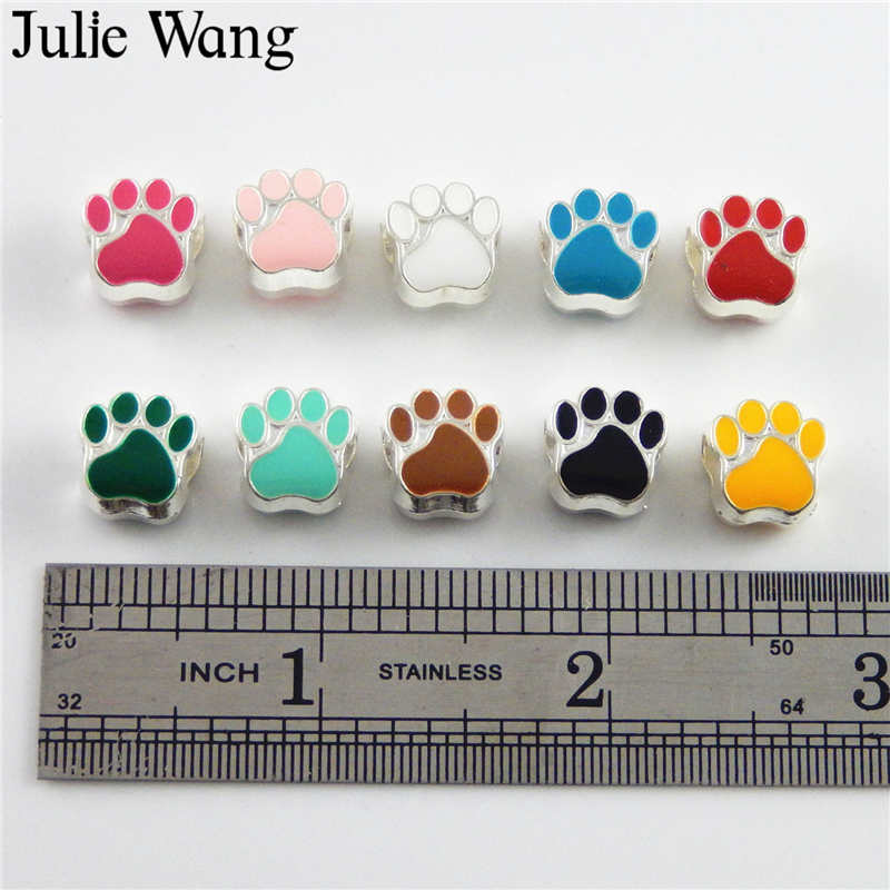 Julie Wang 40PCS Mix 10 Colors Enamel Pet Cat Dog Paw Footprint Beads For European Charms Bracelet Jewelry Making Accessory in Beads from Jewelry Accessories