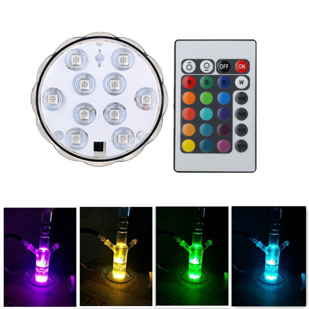 4 Pieces/Lot Super Bright Rotating Submersible Hookah Shisha Light Base/ RGB LED Floralytes With Remote