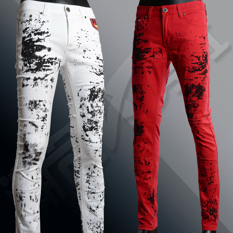 ФОТО 2016 men winter Splash-ink print red jeans male singer trend of the white slim trousers personality non-mainstream flower pants