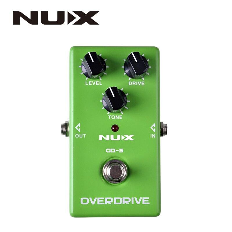 Nux od-3 overdrive pedal efeito guitarra elétrica ture bypass verde de alta qualidade pedal efeito guitarra