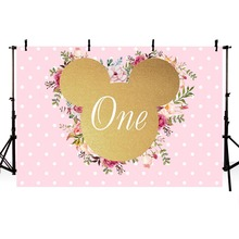 MEHOFOTO Gold Minnie Photography Backdrop Girls Birthday Party Pink Flowers Photo Backgrounds Baby Shower Lv1877