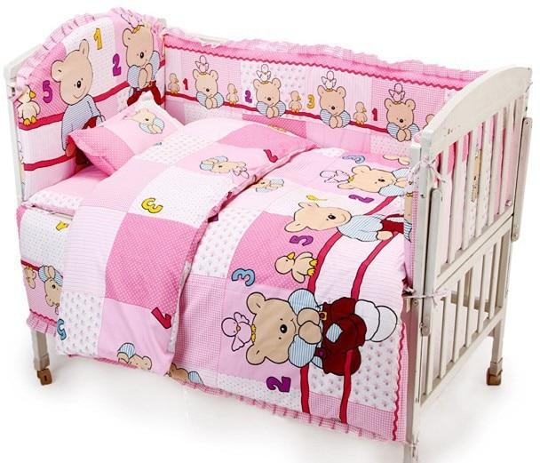 ФОТО promotion! 6/7pcs crib bedding set ,duvet cover,curtain berco cot bumpers baby bedding crib sets 2015 ,120*60/120*70cm