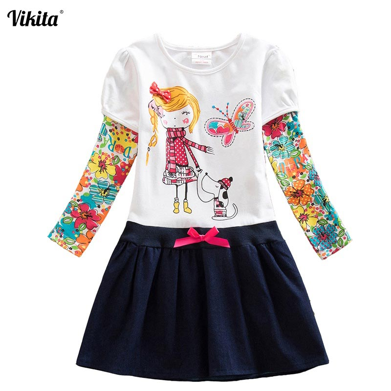 VIKITA Girls Dresses Tutu Lace Animal Owl Children's Dresses Stripe Children Clothing Kid Dresses for Girls Clothes H5926 Mix
