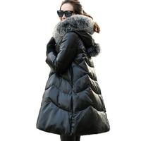 2018 Elegant New Sheepskin White Down Winter Coat Women Real Genuine Leather Jacket Warm Snow Wear Hooded Fox Fur Collar A888
