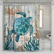 3D Marine Life Beach Shower Curtain Bathroom Waterproof Polyester Printing Curtains for
