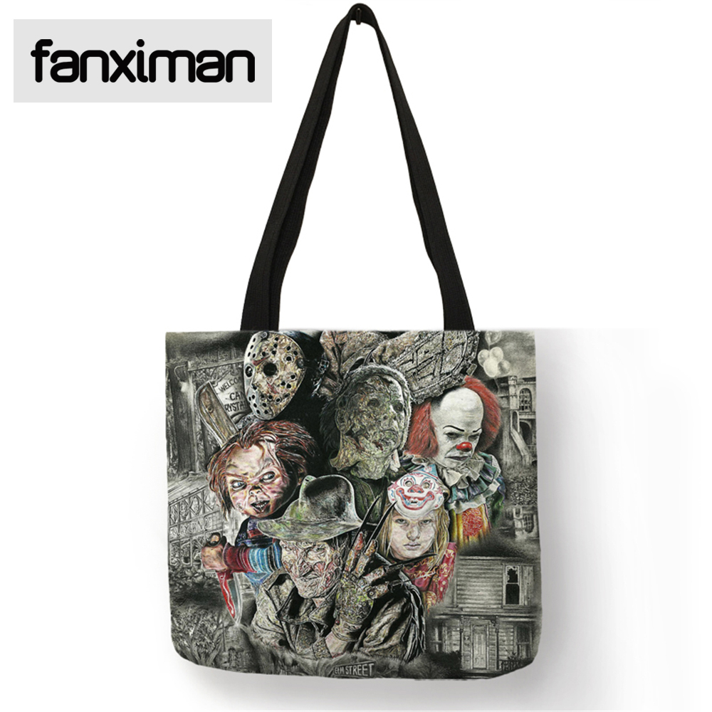 2c97c8c39a49 Fanximan Custom Folding Reusable Bag Shopping Linen Tote Bag Horror Movie  Chucky Series Handbag Shoulder Bags Home Storage Bags