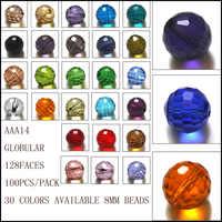 Misto di colore rotonda di cristallo del branello 8 MILLIMETRI multi perle di vetro di colore di cristallo rondelles perline AAA Grade 100 PCS
