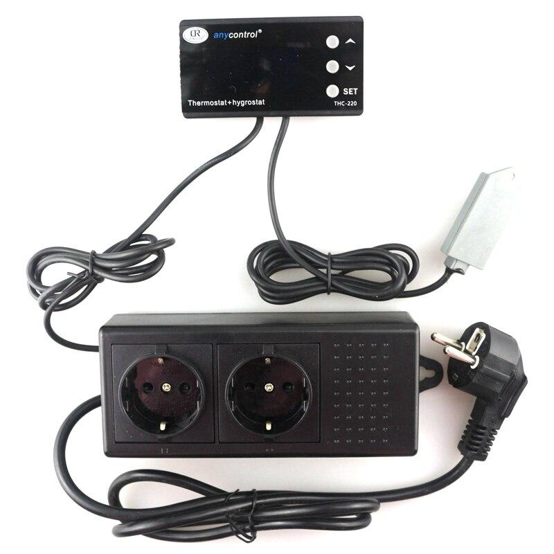 купить THC-220 EU UK US Plug Digital Temperature Humidity Controller Thermostat Regulator Control Switch LCD AC220V 10A for Green House по цене 2478.51 рублей