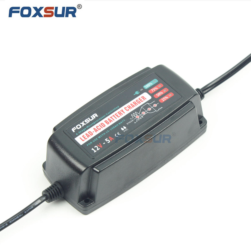12V Waterproof Lead Acid Battery Charger, 5A Automatic Smart Battery Charger, AGM GEL Wet VRAL SLA Quiet Car Battery Charger