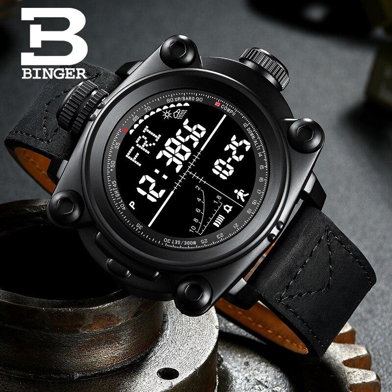Los hombres inteligentes relojes al aire libre deporte Digital relojes paso contando/altura/presión/tiempo/brújula/temperatura BINGER