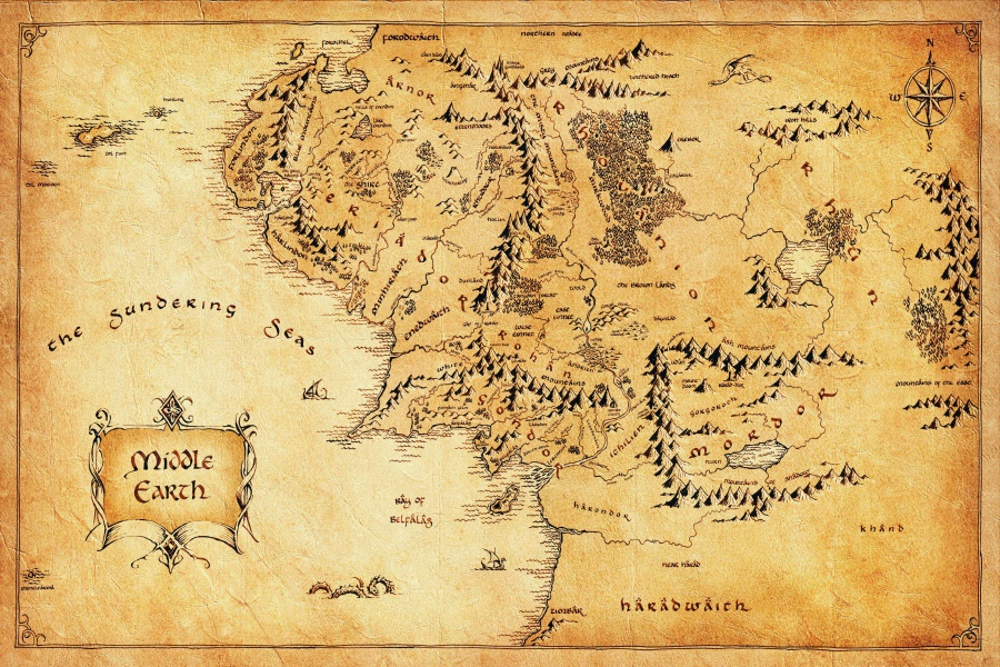 Custom Canvas Painting The Lord Of The Rings Poster Hobbit Wall Stickers  Retro World Map Wallpaper Christmas Decoration #2566# In Wall Stickers From  Home ...