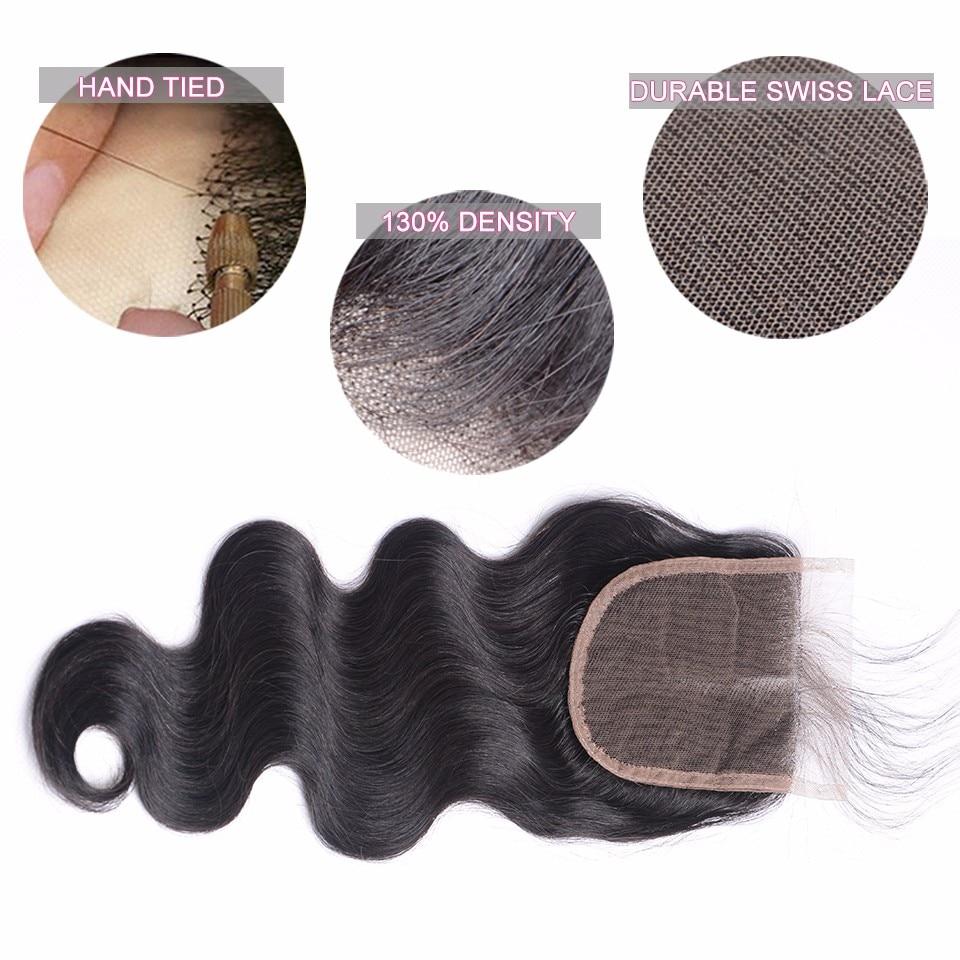 Skönhet Grace brasilianska Body Wave Hair Snörning Closure Remy - Mänskligt hår (svart) - Foto 3