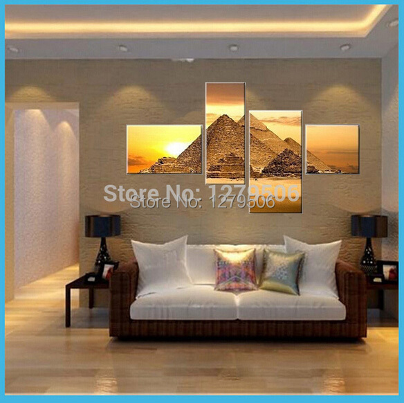 100% Hand painted Wall Decoration Modern Abstract The Egyptian Pyramids Oil Painting On Canvas 4 Piece Living Room Home Decor