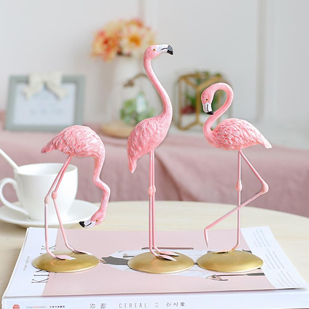 Pink Flamingo Cute Animal Shape Resin Ornament Home Garden Decoration Living Room Decoration