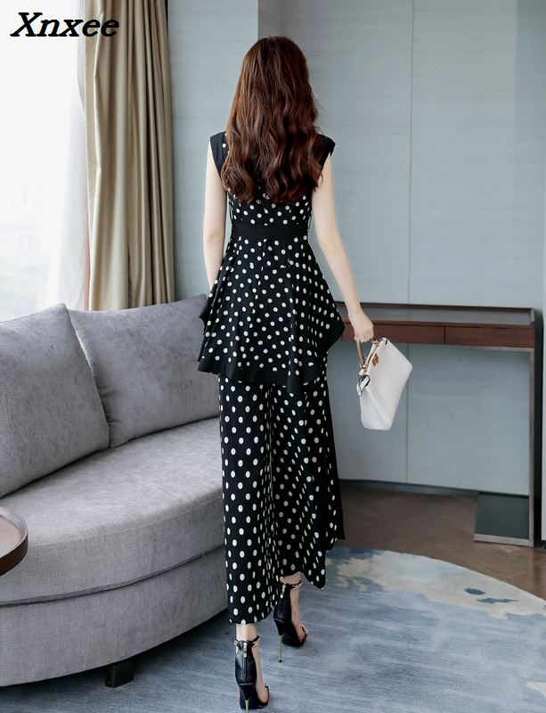 Polka Dot Two Piece Set Top And Pants Sleeveless Palazzo Pants Ensemble Femme Deux Pieces  Wide Leg Conjunto Feminino Woman Suit-in Women's Sets from Women's Clothing    3