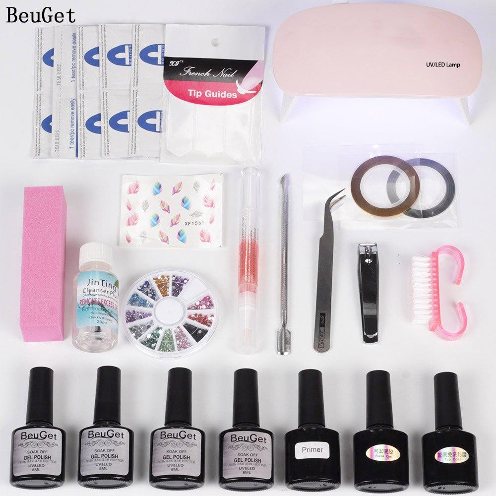 BeuGet Nail Gel polish sert 6w Usb Led Lamp 4 Colors Gel Varnish primer for nail set for manicure Top and Base nail Tool set