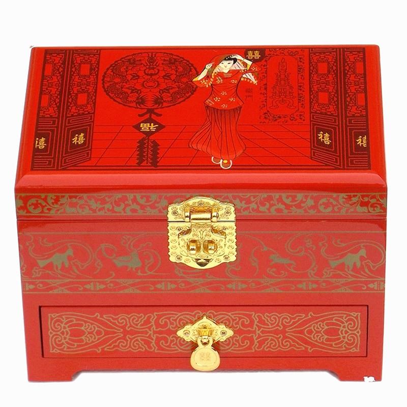 Atacado lacquerware de madeira 21*14*8cm chinês artesanal clássico caixa preta bordado peônia 2 camada caixa de jóias