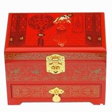 Toptan Ahşap Lacquerware 21*14*8 cm Çin El Yapımı Klasik Siyah Kutu Nakış Şakayık 2 Katmanlı Mücevher Kutusu