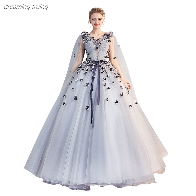 Light Blue Long Tulle 3d Flower Vestidos De 15 Dresses For Quinceaneras Party Ball Gown V-neck Girl Sweet 16 Dresses Robe De Bal
