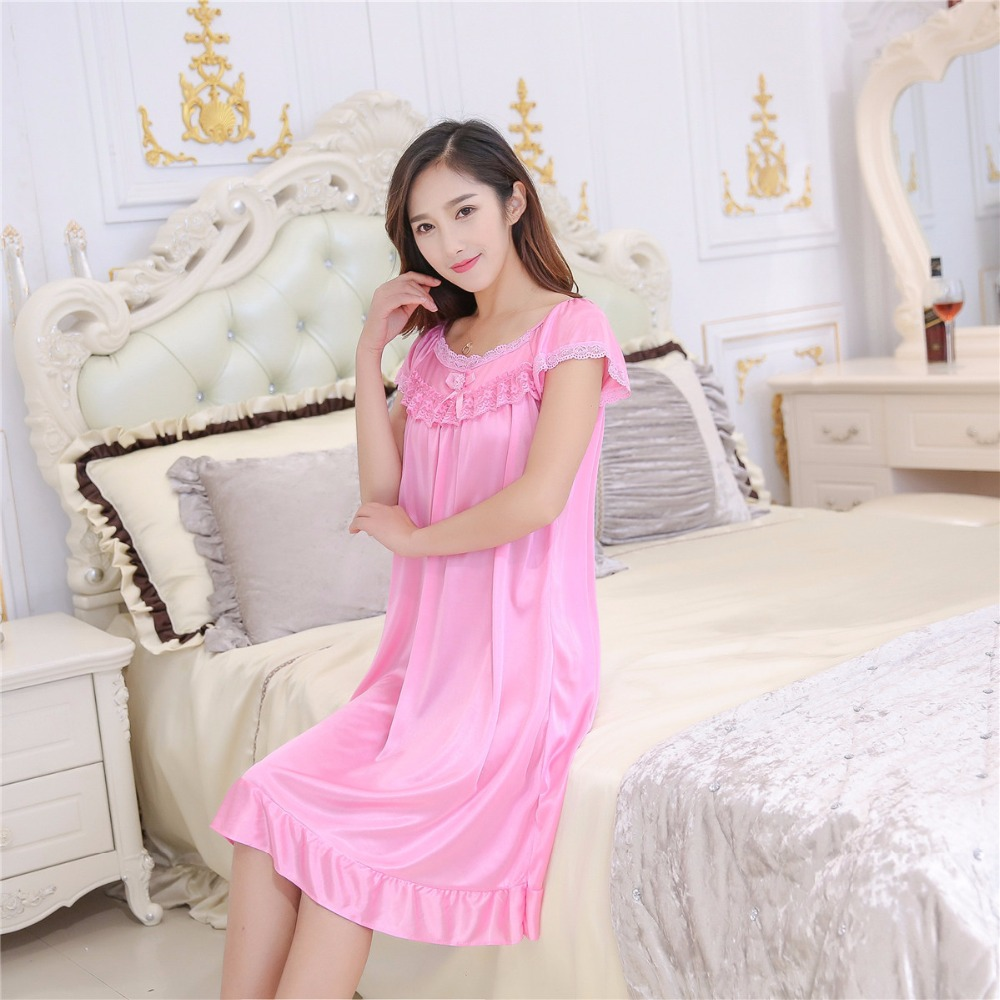 2019 Hot Sale Plus Size 2XL New Sexy Silk Nightgowns Women Casual Chemise Nightie Nightwear Lingerie Nightdress Sleepwear Dress 4