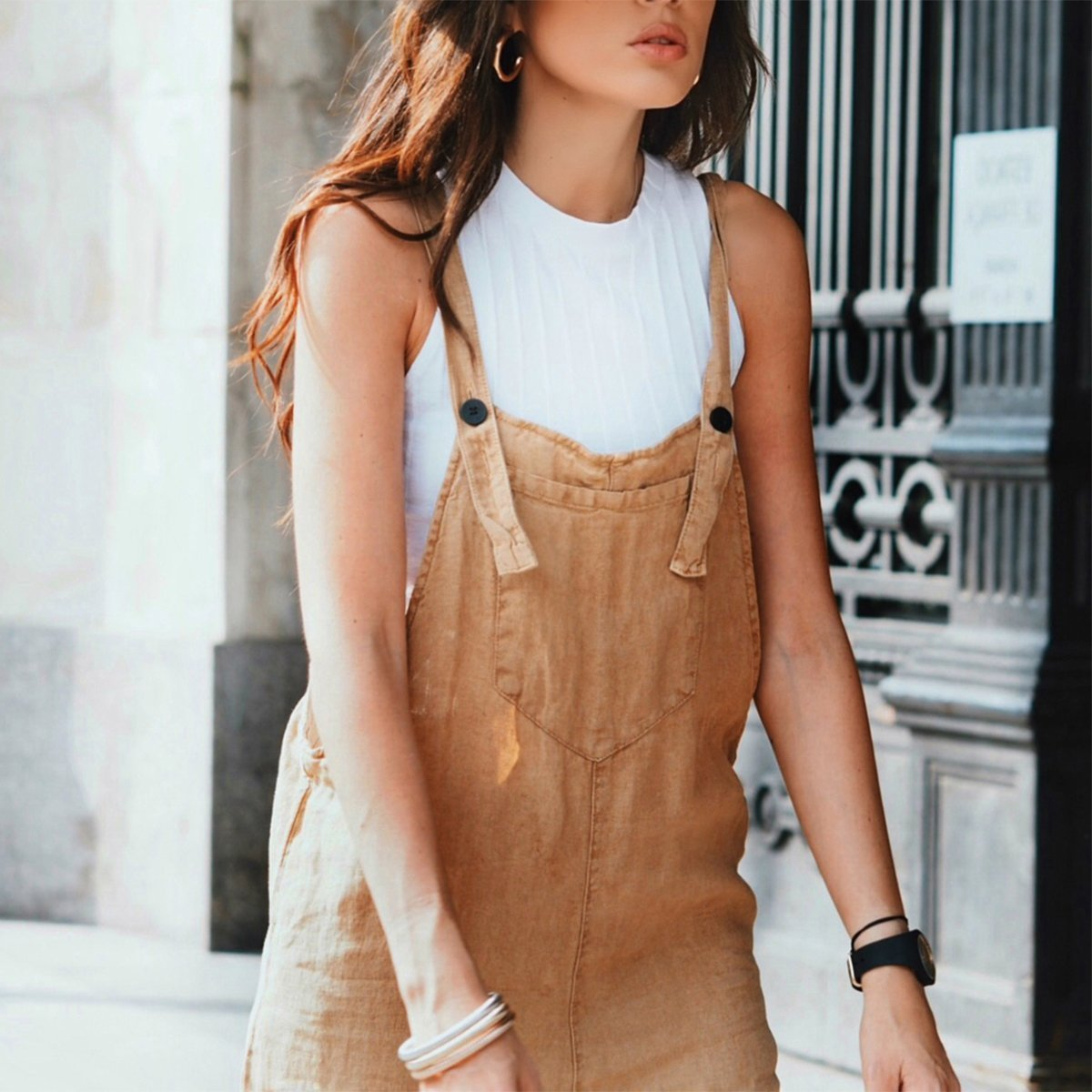 New Casual Solid   Jumpsuit   Sleeveless Neck Bodysuit Women Calf Length Pocket Playsuit Loose Overalls Beach Pants