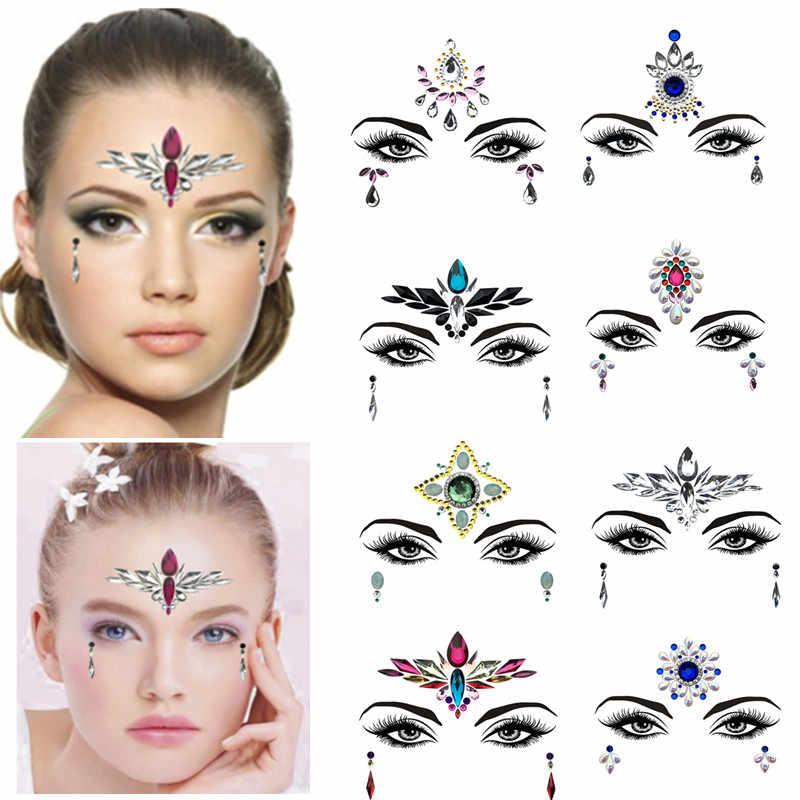 0455405863 1Pc Adhesive Resin Face jewels Gems Temporary Tattoo Face Jewels Festival  Party Body Gems Rhinestone Bindi Sticker Makeup Set