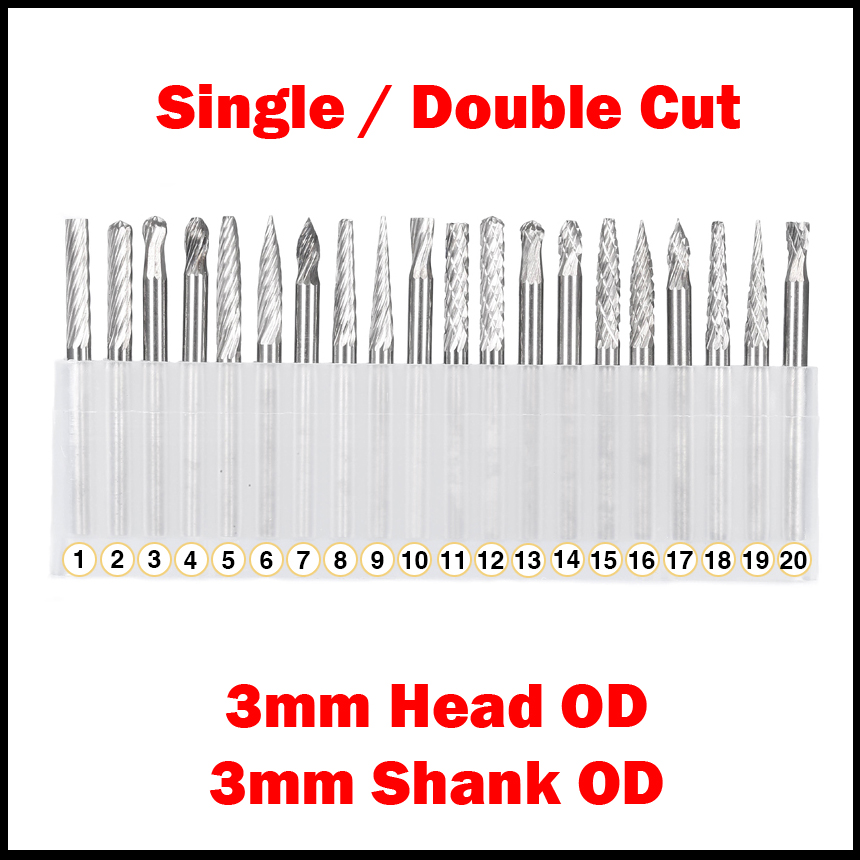 1 Set 3mm Shank OD 3mm Head OD Sinlge Cut CNC Tool Grinder Tungsten Carbide Woodwork Milling Cutter Polishing Head Rotary File