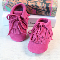 Suede Genuine Leather Baby Girl Booties Fringes Baby Lace Up Moccasins Soft Newborn Toddler Infant Girls