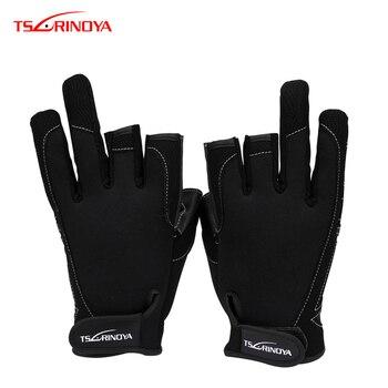 TSURINOYA 17-3A дышащие нескользящие перчатки для рыбалки, Нескользящие дышащие спортивные перчатки с 3 открытыми пальцами для рыбалки