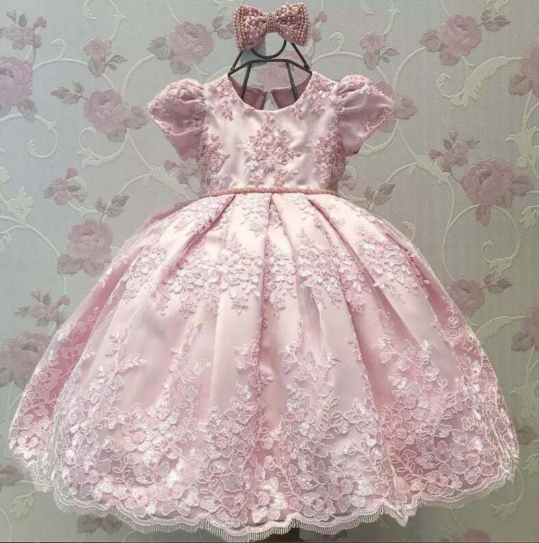 2019 Pink Little Girls First Birthday Dress Lace Short Sleeve Princess Toddler baby Girls Clothes Children Kids Party Dresses