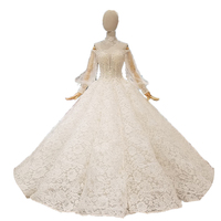2018 New Whoesale Real Show Off White Champagne Fabric Beading Tassel Off The Shoulder Long Sleeves Big Skirt Wedding Dresses