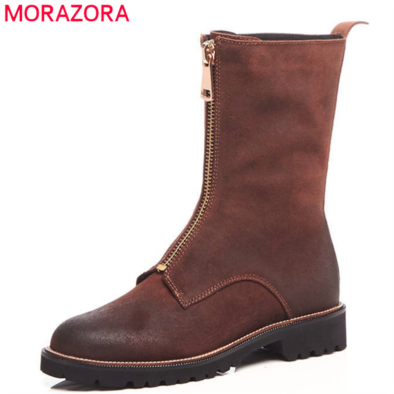MORAZORA 2018 top quality suede leather women boots round toe warm autumn winter ankle boots fashion punk Martin boots women fashion ankle boots top quality suede autumn slip on pointed toe flats punk suede biker boots ladies shoes wholesales
