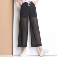 2018 Women Mesh Loose Pant See Through Sheer Beach Party Pants Sexy Transparent Wide Leg Trousers Pantalon Femme