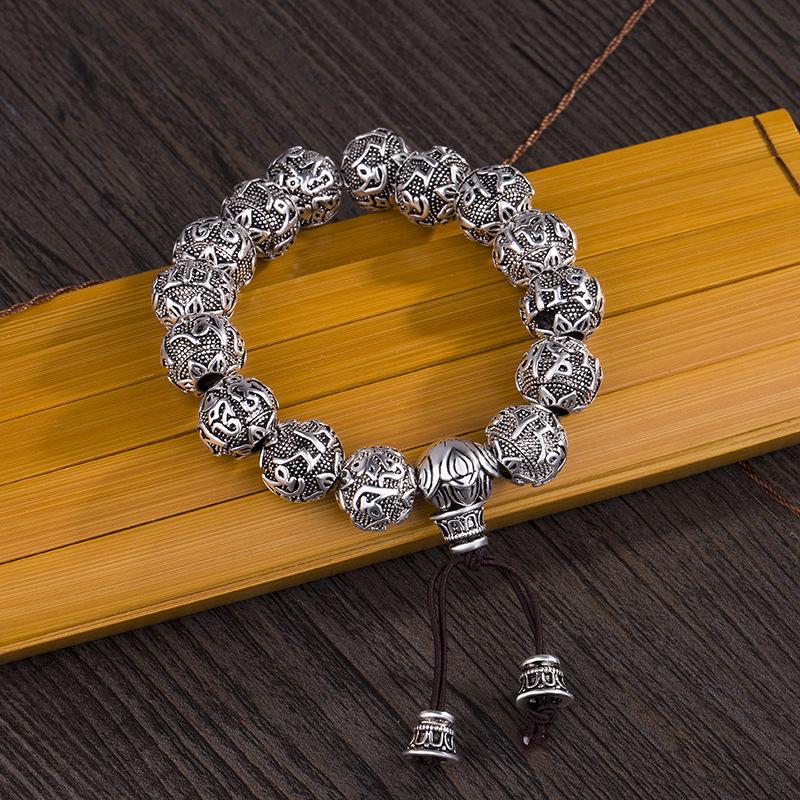 Fine Retro Tibetan Buddhism Plated Thai Silver Rope Bracelet Men Six Words Mantras OM MANI PADME HUM Lotus Beads Bracelet Women 16mm round sandalwood thai silver beads bracelet for women buddhism six letter scripture women men fine silver 990 jewelry sb69