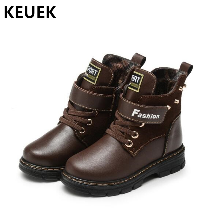 Winter Children Martin boots Warm Plush Snow boots Genuine leather Boys Rivet Motorcycle boots Cotton shoes Ankle boots 020 2016 winter children genuine leather boots brand boys cotton buckle shoes fashion ankle martin boots for kids