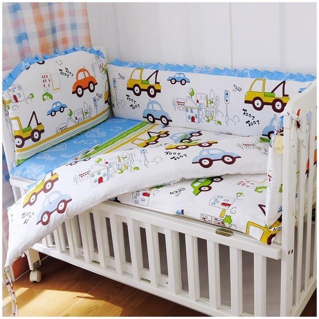 Promoção! 6 PCS algodão berço da cama conjunto para meninos das meninas dos desenhos animados bebê recém-nascido roupa de cama ( amortecedores + ficha + travesseiro cobrir )