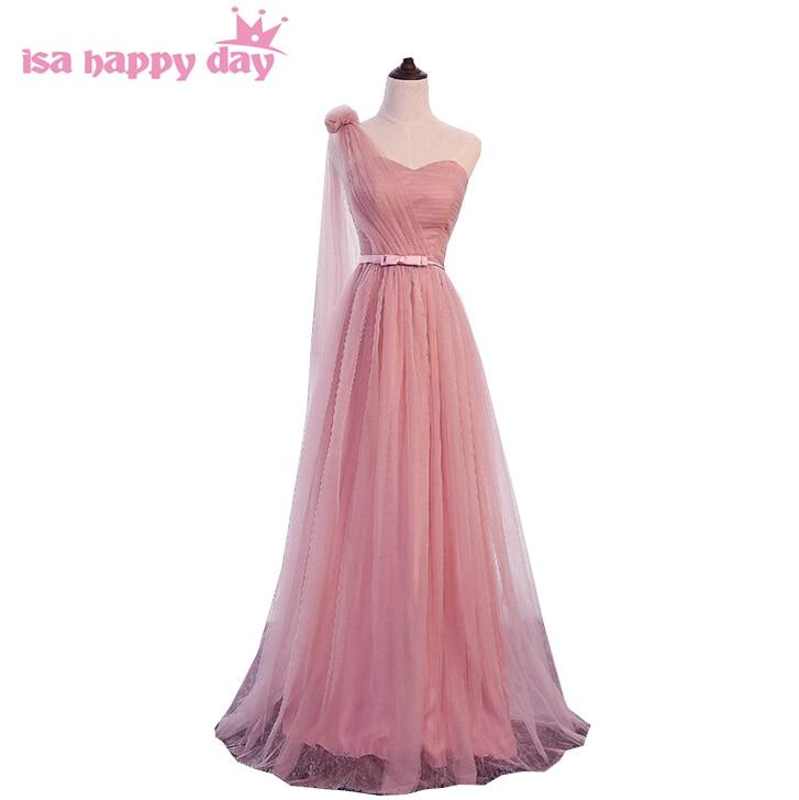 Greek Formal Modest Elegant Ladies Women Blush One Shoulder Dress