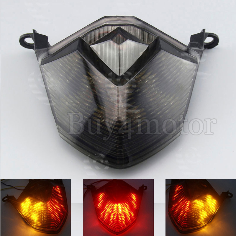 Motorcycle Smoked Tail Brake Turn Signals Taillamp Led Light FOR Kawasaki 09 12 ZX6R 08 10
