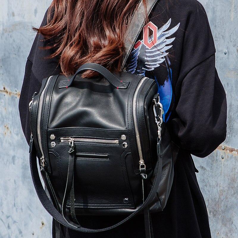 KZNI Genuine Leather Luxury Backpack Teenage Backpacks for Girls Fashion Black Backpack Women Sac a Dos Femme 2017 1638-1639 цена