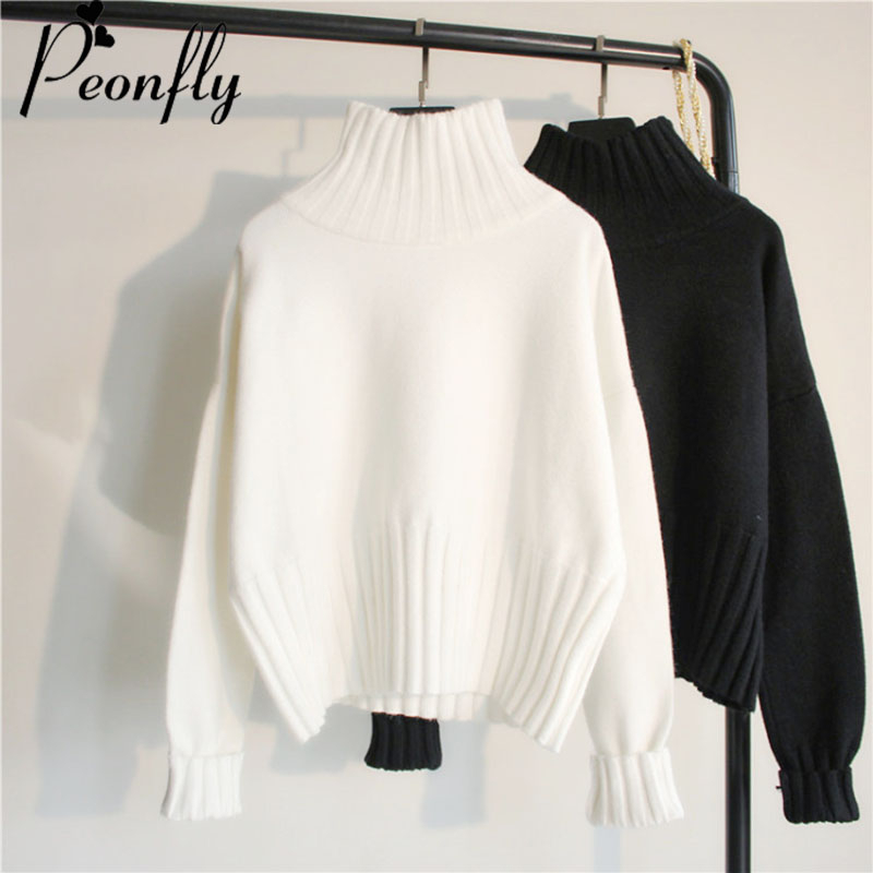 PEONFLY Turtleneck Sweater Women Pullover High Elasticity Knitted Ribbed Slim Jumper Autumn Winter Basic Female Sweater Truien