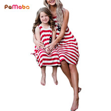 PaMaBa mujeres chica bandera americana vestidos de verano de regreso de la hija de la madre de rayas vestido 4th DE JULIO DE traje patriótico vestido de tanque