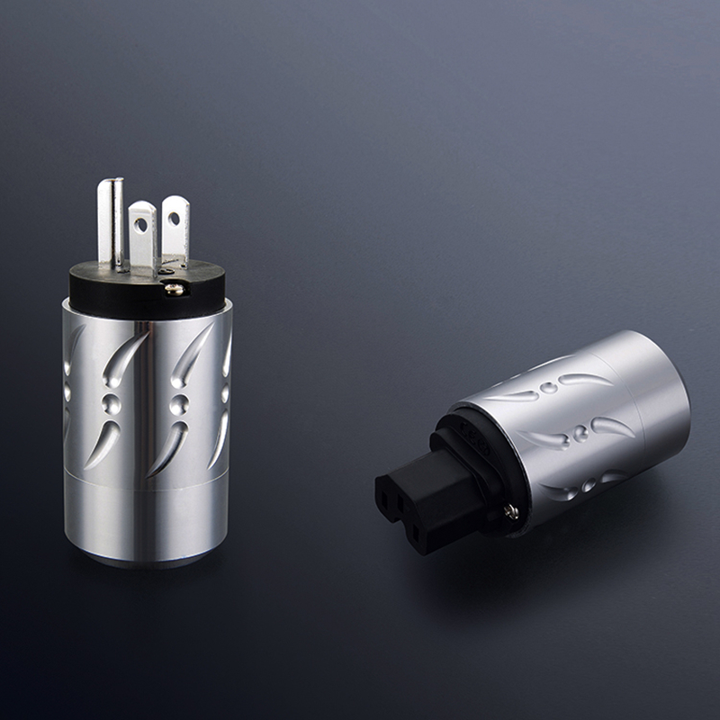 Viborg X 1pair Aluminium Alloy pure copper rhodium plated 20MM power cable connector adapter US version power plug viborg vb202r hi end rhodium plated lock speaker cable banana plug connector x