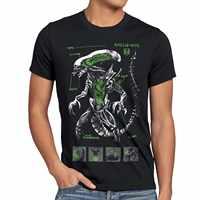 Xenomorph Alien T-Shirt Ripley Vs Film Schwarz Action Fiction Weltraum Predator Männer T Shirt Männer Kleidung Plus Größe Top T